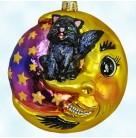 Fright on the Nose, Radko Christmas Ornaments,  2001, 01-0426-0, Halloween, Black cat on crescent moon, Mint with Tag