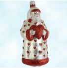 I Love You Santa -Red & Pearl, Patricia Breen Christmas Ornaments, 1997, B9725, Hearts, Trim, Valentines Day, Mint with Tag
