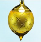 Faberge Ball Drop - Gold, Radko Christmas Ornaments, 1987, 87-034-0, Fleur-de-lis, Christopher, Excellent with Tag