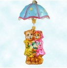 Shower Me with Love - Bears, Radko Ornaments, 2002, 02-0499-0, 2 Part, April ornament of the month, Christmas, Mint with Tag