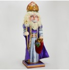 The Bishop - Nutcracker, Radko Home for the Holidays, 1997, 97-K01-00, Wooden, Ltd 500, Blue & purple, bag of pears,  Christopher, Mint with Tag, Box