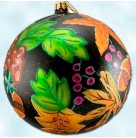 Forest Bounty Ball - Autumn Acorns & leaves, Radko Ornaments, 2001, 01-0034-0, Black, Christmas, Mint with Tag