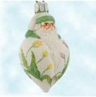 Miniature Santa Poeticus - Tulips, Patricia Breen Christmas Ornaments, 2001, 2161, Neiman Marcus, Ltd 120, Fully Glittered, Flowers on pearl drop, Mint with Tag