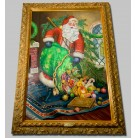 Magical Midnight Delivery Oil Painting, Christopher Radko Christmas Home Decor, 2002, 0267150, Santa pouring out presents, green bag, Original oil, signed