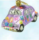 Little Love Bug - Lavender, Radko Ornaments, 2002, 02-0701-0, Flowers & peace signs, Christmas, Mint with Tag