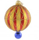 Crimson Stripes Ball, Christopher Radko Ornaments, 1996, 96-276-0, Red & gold with small blue ball, Christmas, Mint with Tag