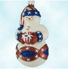Faberge Snowman - Patriotic & Striped Hat, Patricia Breen Christmas Tree Ornaments, 2002, 2223, Mini Santa ornament, Mint with Tag Signed