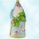 Amelia Island Santa, Patricia Breen Christmas Ornaments, 2008, 2803, Bejeweled, Coconut palm tree & flamingos, Mint in Box