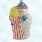 Snow Dancing - Patriotic, Patricia Breen Christmas Ornaments, 2001, B2040, 2040 Snowman dancing couple, stars & stripes, Mint with Tag