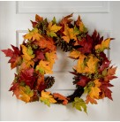 Wreath - Autumn Gold & Red Maple Leaves with berries, wicker backing, lightly glittered, 24 inch, Excellent