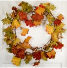 Wreath - Autumn Fan shaped hand-painted silk leaves, small berries, On metal frame, 24 inches, Excellent