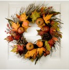 Wreath - Autumn Fruit & Colored Fall Leaves, wicker backing, Cones & Berries, 24 inches, Excellent