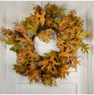 Wreath - Autumn Large Golden & Orange Oak Leaves, On circular thatching, 24 inch, Excellent