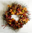 Wreath -  Autumn Gold & Red Maple Leaves with berries, wicker backing, lightly glittered, 24 inches, Excellent