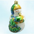 Peacock Snowman, Patricia Breen Christmas Ornaments, 2002, 2200NM, Neiman Marcus Exclusive, golden glitter trim, Mint with Tag