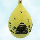 Silhouette Beeskep Egg, Patricia Breen Christmas Ornaments, 2004, 2437, Easter, beehive, bees, yellow, Spring, Mint