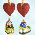 Love is in the Air, Patricia Breen Christmas Ornaments, 1997, B9726, 9726, Glittered red heart balloon, Mint with Tag