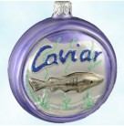 Caviar Tin, Lavender, Patricia Breen Christmas Ornaments, 1996, 9606, Can with lid rolled back; glittered caviar; fish in seaweed, Mint with Tag