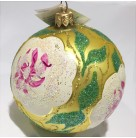 Camille Flower Ball, Christopher Radko Christmas Ornaments, 1994, 94-212-0, floral, glitter petals, Mint with Tag