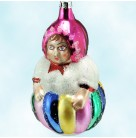 Circus Lady Roly Poly, Radko Christmas Ornament, 1995, 90-035-2, Red hat & multicolored round body, Christopher, Mint with Tag