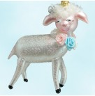 Lammykins, Christopher Radko Christmas Ornaments, 2001, 01-0853-0, Italian, Lamb w/ pastel roses necklace, Mint with Tag, Box