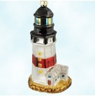 Montauk Lighthouse, Radko Ornaments, 1999, 99-038-0, Pearl tower, gold windows, building, Christmas, Mint with Tag