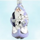 Minaiture Santa and Teddy - Lavender & Dark Purple bag, Patricia Breen Christmas Ornaments, 1999, 9953, Retired, Store Exclusive, Mint with Tag