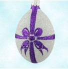 Egg - Silver & Purple Bow, Patricia Breen Ornaments, 1998, 9873, Savannah Christmas Shop, Easter, fully glittered, Mint