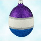 Egg - Purple Pearl Blue, Patricia Breen Ornaments, 1998, 9873, Savannah Christmas Shop, Easter, fully glittered,  silver, Mint