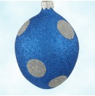 Egg - Silver Polka Dots On Blue,  Patricia Breen Ornaments, 1998, 9873, Easter, Set of 3, Mint