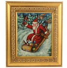 Bob Sled Santa Painting, Christopher Radko Home for the Holidays, 1998, 98-561-0, gold frame, stand, Mint with COA