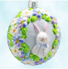 Medallion - Bunny Boy, Patricia Breen Christmas Tree Ornaments, 2007, 2762, Neiman Marcus, blue tag, Easter rabbit, Mint with Tag Signed