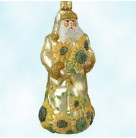 For You Vincent - Gold, Patricia Breen Christmas Ornaments, 2001, 2108, Santa with van Gogh style sunflowers, Mint with Tag