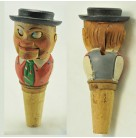Bottle Stopper - Mechanical Tyrollean Man, Anri, 1930s, Press lever & eyes move, red vest, green tie, Excellent vintage condition