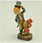 Circus Ring Master & Bear Miniature, Anri -  Ferrandiz, 1980s, Limited, Boy with baby bear in red jumper & hat, Excellent vintage condition