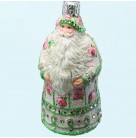 Miniature Sublime Santa - Pink rose, TBA 1, Breen Christmas Ornaments, 2008 2836, Bejeweled, enamel, flowers, Mint with Tag