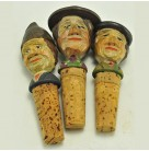 Three Wooden Bottle Stoppers Men - Fence Display, Anri, 1950s to 960s, Fisherman, Tyrollean, Peasant, Excellent vintage condition