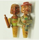 Bottle Stopper Pari - Mechanical Man with Mug & Woman with Rolling Pin, Anri, 1920s, Handcarved woodc, Excellent vintage condition