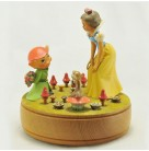 "Music Box, Snow White, Anri, Vintage, 1970s, Snow White talking with or singing to Dopey, Thumper and birds on ground, colorful mushrooms, plays ""Some Day My Prince will come"", Mint"