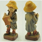 Boy Reading Book Figurine - Handcarved Wooden, Anri, Mid Centurhy, Vintage, Long green jacket, ochre hat, Excellent vintage condition