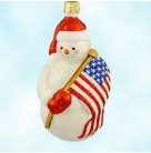 Bunker Hill Snowman, Patricia Breen Christmas Ornaments, 2002, 2215, Pearl snowman waves American flag, Patriotic, Mint with Tag