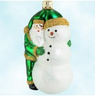 Friends - Green, Breen Ornaments, 2000, 2016, Neiman Marcus, Santa hugs snowman, Christmas Patricia, Mint with Tag