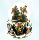 Night Before Chrismtas Snow  Globe, Radko Home for the Holiday, 2001, 01-6114-0, We wish you a Merry Christmas musical, Mint in Box