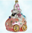 Bunmobile - Easter Bunny, Radko Christmas Ornaments, 1997, 97-198-0, egg car, rabbit family, Pink, Mint with Tag, Box