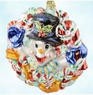 Chillin' Treats Snowman, Radko Christmas Ornaments, 2001, 01-SP-86, Autumn Store, candy wreath, gold ribbon, Mint with Tag