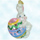 Happy Handful - Easter Bunny, Radko Ornaments, 2004, 1011073, Rabbit, Holds painted egg, Spring, Christmas, Mint with Tag