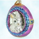 Eggspecting Anybunny?, Radko Ornaments, 2000, 00-151-0, Easter, Bunny Rabbit, Egg, magenta, gold, white, Mint with Tag