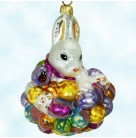 Hoppy Easter, Radko Christmas Ornaments, 1998, 98-501-0, White pearl rabbit-bunny with multicolored Easter Eggs, Mint with Tag