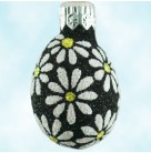 Miniature Egg - Flower Power, Breen Christmas Ornaments, 2003, 2365, Black with white daisies, Mint with Tag