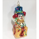 New Fangle-Tangle Snowman, Radko Christmas Ornament, 2003, 1010457, Teal hat, red & pearl check scarf, gold box, Mint with Tag